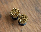 Faux Pryrite Gold Druzy Rough Crystal Plugs Gauges for stretched earlobes.Sizes 0g (8mm), 00g (10mm), Half inch (12mm)