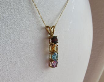 """Multi-Gemstone Pendant 18"""" Necklace, solid 10K y gold, four 5mm round gems 2 carats total, free US first class shipping on vintage items"""