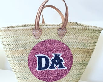 Custom Made Glitter Monogrammed Moroccan Beach Bag Basket