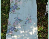 vintage barkcloth panels RARE AQUA background pink & blue ROSES!  4 panels ~ vintage drapes ~ vintage fabric roses~Shabby chic