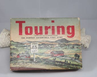 Vintage Touring Game 1947 Card Game Complete with Instructions Fantastic Graphics In Original Box