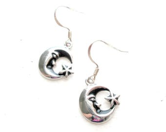 Small Silver Star and Moon Earrings / Celestial Earrings
