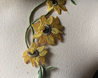 SINGLE Sunflower Yellow Applique Lace for Lyrical Dance, Skating Costumes, Bridal, Headbands, Sashes Iron 19