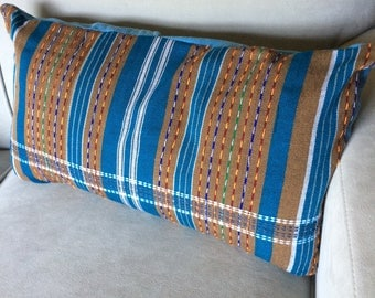 Handwoven Striped Throw Pillow, Indigo and Tan