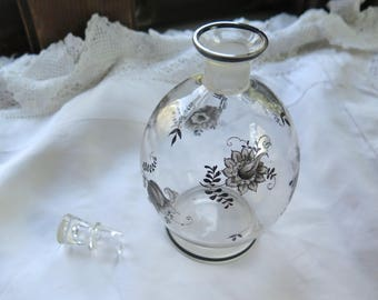 Vintage Czech Glass Decanter with Stopper Clear with Black and White Hand Painted /Enamel Floral