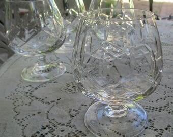 Beautiful Vintage Cross & Olive Pattern Cut Crystal Brandy Liqueur Glasses 4