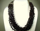 10 Strands Chocolate Color Seed Necklace, Nice Yummy Color Brown Vegan Beads, Large Silvertone Triangle End Caps, 1990s