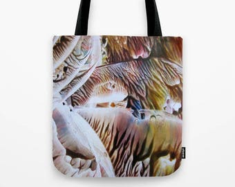 Dripping Rainbows Tote Bag / Encaustic Art on Tote / Book Tote Bag / Market Tote Bag / Available in 3 Sizes / Made to Order
