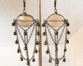 Champagne quartz chandelier earrings