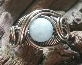 Genuine Aquamarine Dragon's Eye Ring Size 8
