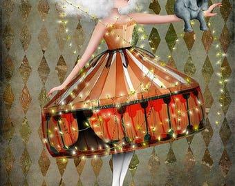 "50% Off SALE Fine Art Print ""Carnivàle""  Medium Size 8.5x11 or 8x10  Digital Collage of Lowbrow Art Circus Performer Girl Circus Animal"