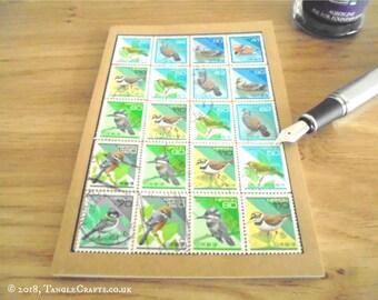 Bird Lover Notebook, Japanese Postage Stamp Travel Journal