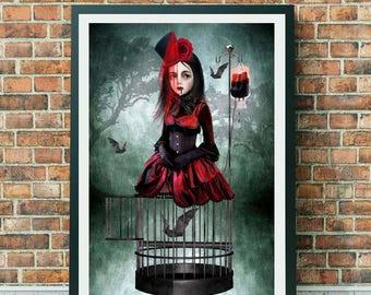 Vampire Art Print - Vampire Girl & Bats - Gothic Art Print - A Prisoner In My Own Body