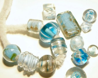 DESTASH -15  Assorted Glass Beads -- Clear and Turquoise Blue -- Some Vintage??