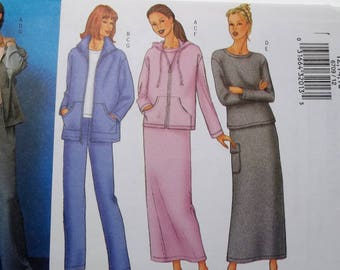 Misses' Active Wear Fast & Easy Sewing Pattern Butterick 6709 Loose Fit Zippered Jacket Top, Straight Skirt Pants Size 12 - 16 UNCUT Pattern