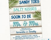 Beach Engagement Party Invitation, Hawaiian, Palm Leaves, Tropical, Destination Wedding