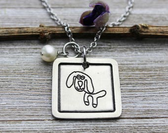 Custom Child's Artwork Chelsea Pendant Necklace with your child's drawing or artwork, Fine Pewter