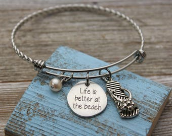 Life is better at the beach Charm Bangle Bracelet