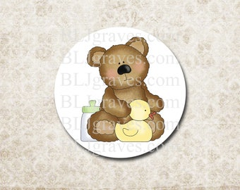 Baby Shower Stickers Envelope Seal Baby Boy Girl Bear Yellow Ducky Baby Shower Party Favor Treat Bag Sticker SB004