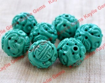 Intricate Natural Turquoise Carved Beads Vintage Condition - 2pcs