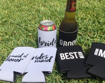 Bridal party  beer soda coolies for that special day!  Bride, groom, best man, maid of honor, bridesmaids, groomsmen!