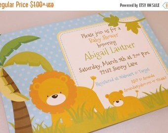 SALE Lion and Cub Baby Shower Invitations