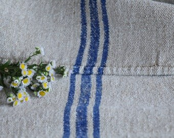 E 458: antique handloomed LAVENDER BLUE ;grainsack, pillow, cushion, runner, 48.03 long,upholstery project,french lin,decor