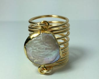Round blister pearl ring wire wrapped gold ring.