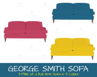 GEORGE SMITH SOFA Roll Arm Sofa Living Room Furniture Clipart Digital Image Instant