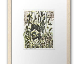 Deco Deer signed framed print, small size