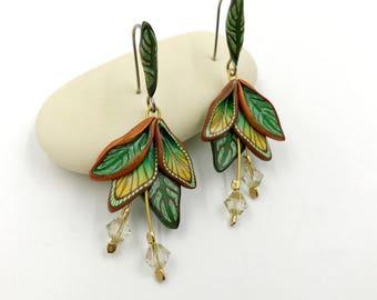 Goddess Earrings,Polymer Clay earrings,Floral earrings,Fantasy Earrings,Leaf Earrings,kato Earrings,Dangle Earrings,Polymer clay E0013