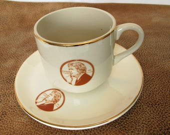 Jimmy Carter China Cup and Saucer Gold Rim Tan on Ivory President Collectibles American History Political Keepsakes Souvenirs Teacup Coffee
