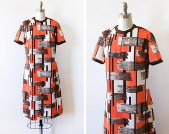 vintage mod dress, 60s mod scooter dress, 70s shift dress, orange brown white dress, large l