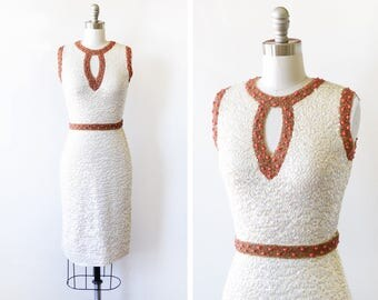 60s sequin dress, vintage 1960s wool sequin dress, white Bill Shelly's Chez Royale sequin wiggle dress, extra small xs