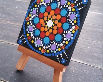 Tiny canvas art, acrylic painting, mandala, hand painted
