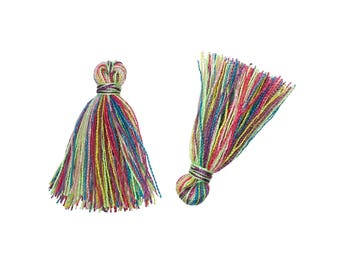 "10 Boho Cotton Tassel Multicolor 25mm (1"") long"