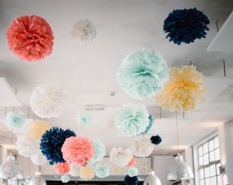 100 bulk pompoms CUSTOM COLORS wedding aisle ceremony decorations engagement party bar bat mitzvah anniversary wholesale large tent venue