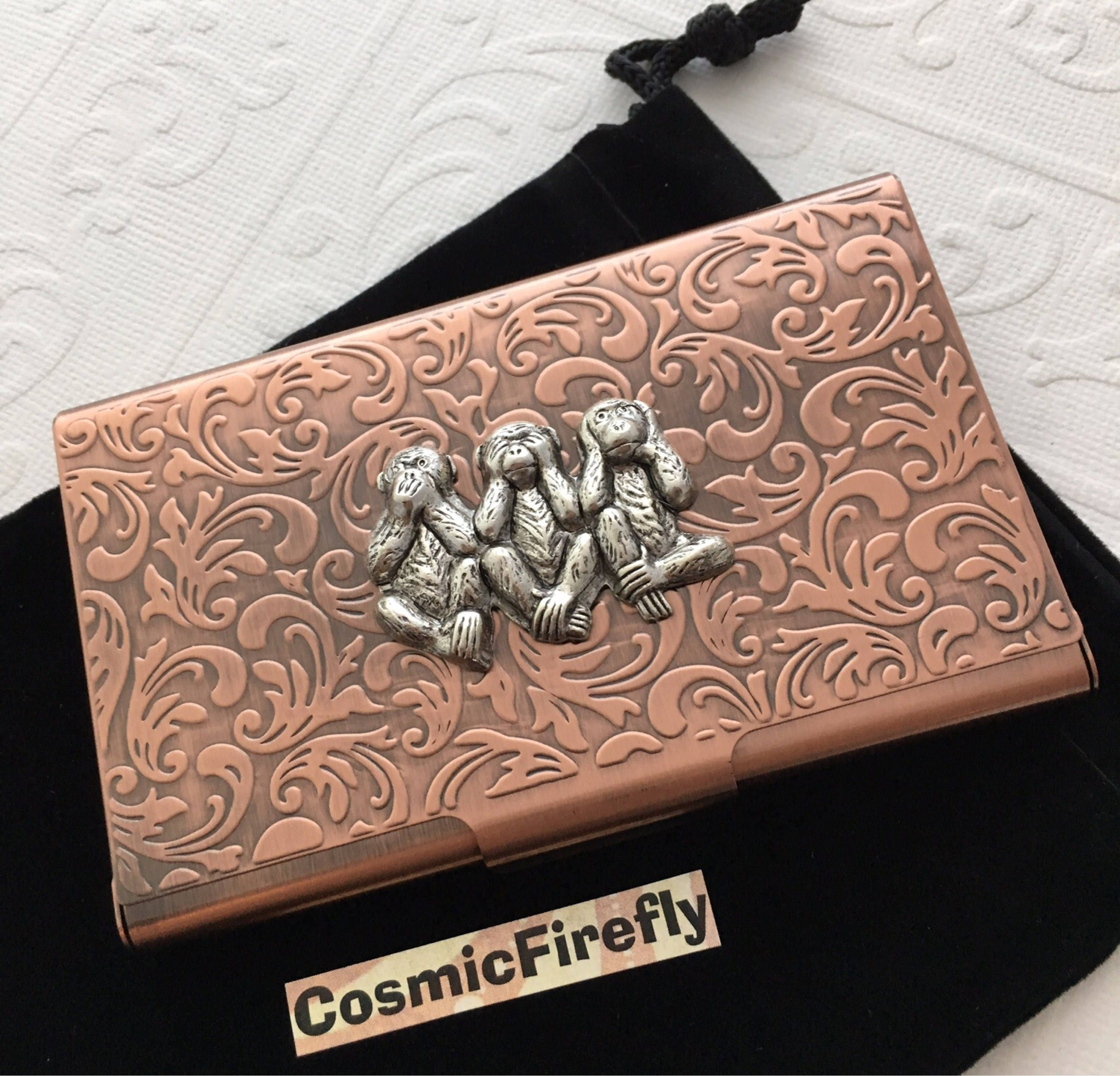 Copper Business Card Case Silver Monkeys Steampunk Card Case Card