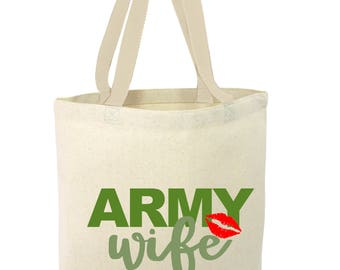 Army Wife Tote, National Guard, Military, USA, Handpainted
