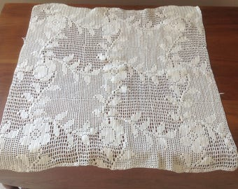 Large Filet Crochet Piece, For Pillow or Framed, Leaves and Daisies
