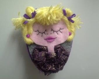 CLEARANCE Brooch Portrait Blonde Girl Doll Violina