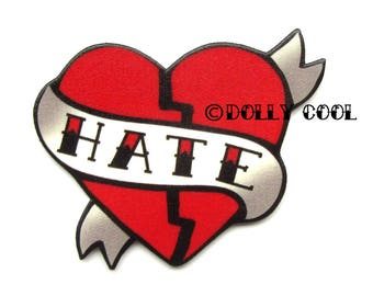 Hate Heart Brooch Tattoo Style by Dolly Cool Rockabilly 50s