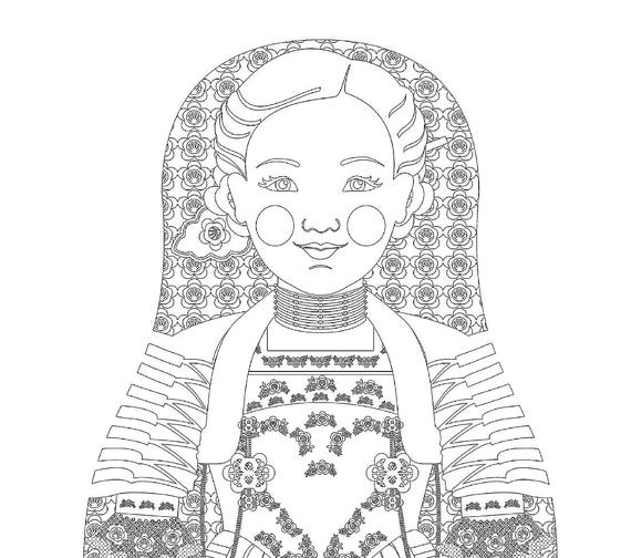 Swiss Doll Traditional Dress Coloring Sheet Printable Matryoshka