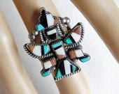 Vintage Zuni Sterling Silver Knifewing Dancer Ring - Native American Mosaic Kachina - Turquoise, Onyx, White and Red Flush Inlay Size 6.5