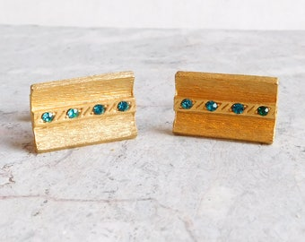 Vintage Goldtone Cuff Links w/ Dark Green Rhinestones - Textured Gold Metal Rectangles - 1960s Men's Jewelry - Mid-Century Modern Accessory