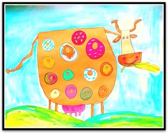 Happy Cow with Donuts Folk Art Happy Art Kids Art 11x14 Mixed Media on Watercolor Paper Original Nursery Art Fun Art