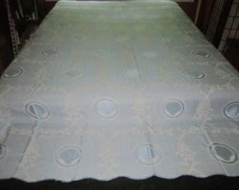 Vintage 1930s/40s Art Deco Cotton Rayon 82x92 Light Blue Bedspread