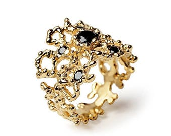 SALE 20% Off - CORAL Black Diamond Ring, 14k Yellow Gold Black Diamond Band, Wide Gold Ring, Black Diamond Wedding Band, Unique Wedding Band