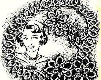 Necklace - Earring Set Tatting Pattern 1957 Vintage 729003