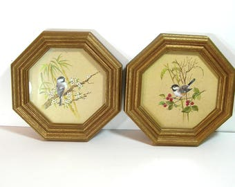 Vintage Bird Prints Pair in Gold Hexagonal Frames